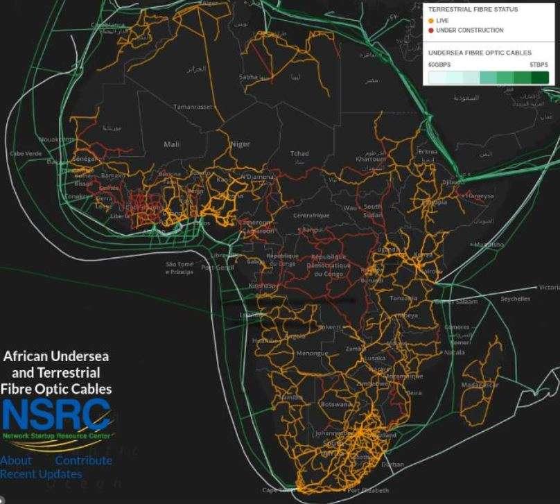 Łącza światłowodowe w Afryce