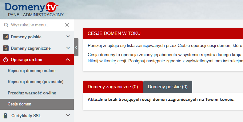 Cesja domeny