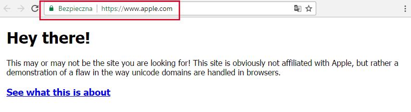 Apple.com - atak homograficzny