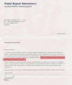 Polski Rejestr Internetowy - skan