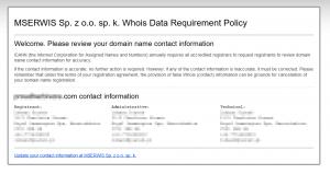 Dane abonenta domeny