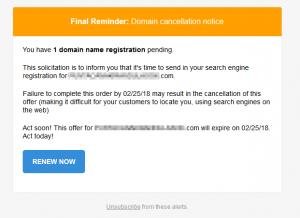 Fałszywy e-mail o wygasaniu domeny