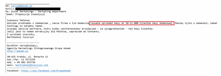 Przykład maila, jakie zostały wysłane przez grupę Adweb. Źródło: hostingnews.pl