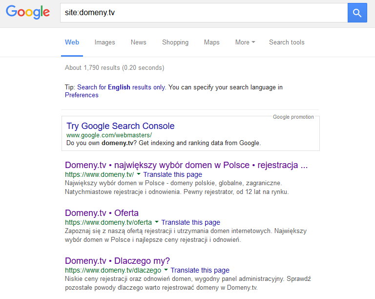 Czy strona znajduje się w indeksie Google